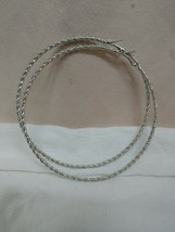 "Fashion Hoop Earrings 4"" Silver Roped Style NWOT - $3.47"