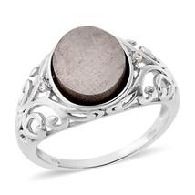 12 x 10 Iron Gibeon METEORITE , White ZIRCON RING in Platinum / Sterling... - $54.99