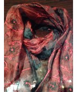 Vintage Red And Black Embroidered Beaded Organza Shawl Wrap Scarf - $123.75
