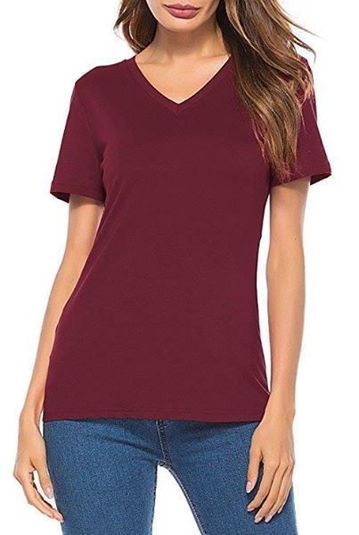 Womens Juniors Short Sleeve T Shirt V Neck Cotton Shirt Casual Top Tee XL NEW