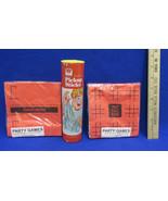 Vintage Pickup Sticks Game 1975 & Red Tic Tac Toe Hangman Game Party Nap... - $10.88