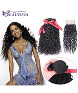 Eaudiva hair brazilian 100 human hair kinky curly 3 bundles with closure 4 4 free part thumbtall