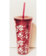 Tumbler with Straw, Pink with white floral, New/Sealed - $8.88