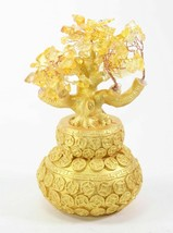 """7"""" Feng Shui Yellow Crystal Money Tree Gold Coins Pot Lucky For Wealth Blessing image 2"""