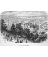 DUBUQUE in Iowa View from Kelly's Bluff - 1883 German Print - $21.60