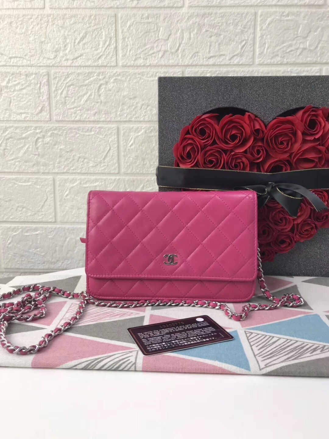 100% AUTH CHANEL WOC Quilted Lambskin PINK Wallet on Chain Flap Bag SHW