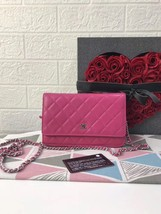 100% AUTH CHANEL WOC Quilted Lambskin PINK Wallet on Chain Flap Bag SHW - £1,464.36 GBP