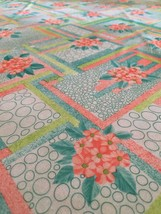"""2 + yards Vintage Floral Polyester Fabric pastels peach green 59"""" width - $18.70"""