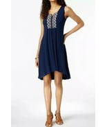 Style & Co Womens Large L Dress Sleeveless A-Line Hi-Low V-Neck Embroidered - $16.80