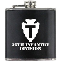 Army 36th Infantry Division Veteran Soldier Groomsman Gift Leather Wrapped Flask - $19.79