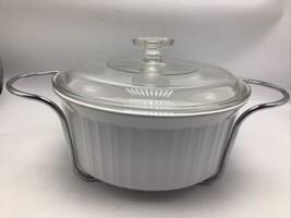 Corning Ware French White Round 2.5L Casserole Dish Glass Lid Metal Stand F-1-B  - $38.69