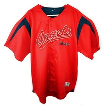 Los Angeles Angels Mens XL Dynasty Series Full Button Baseball MLB Jersey Red - $31.37