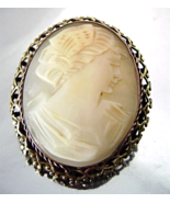 Vintage Carved Shell Cameo Brooch Brass Filigre... - $50.00