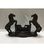 CAST IRON- Horse Business Card Holder Rustic Brown - $27.71