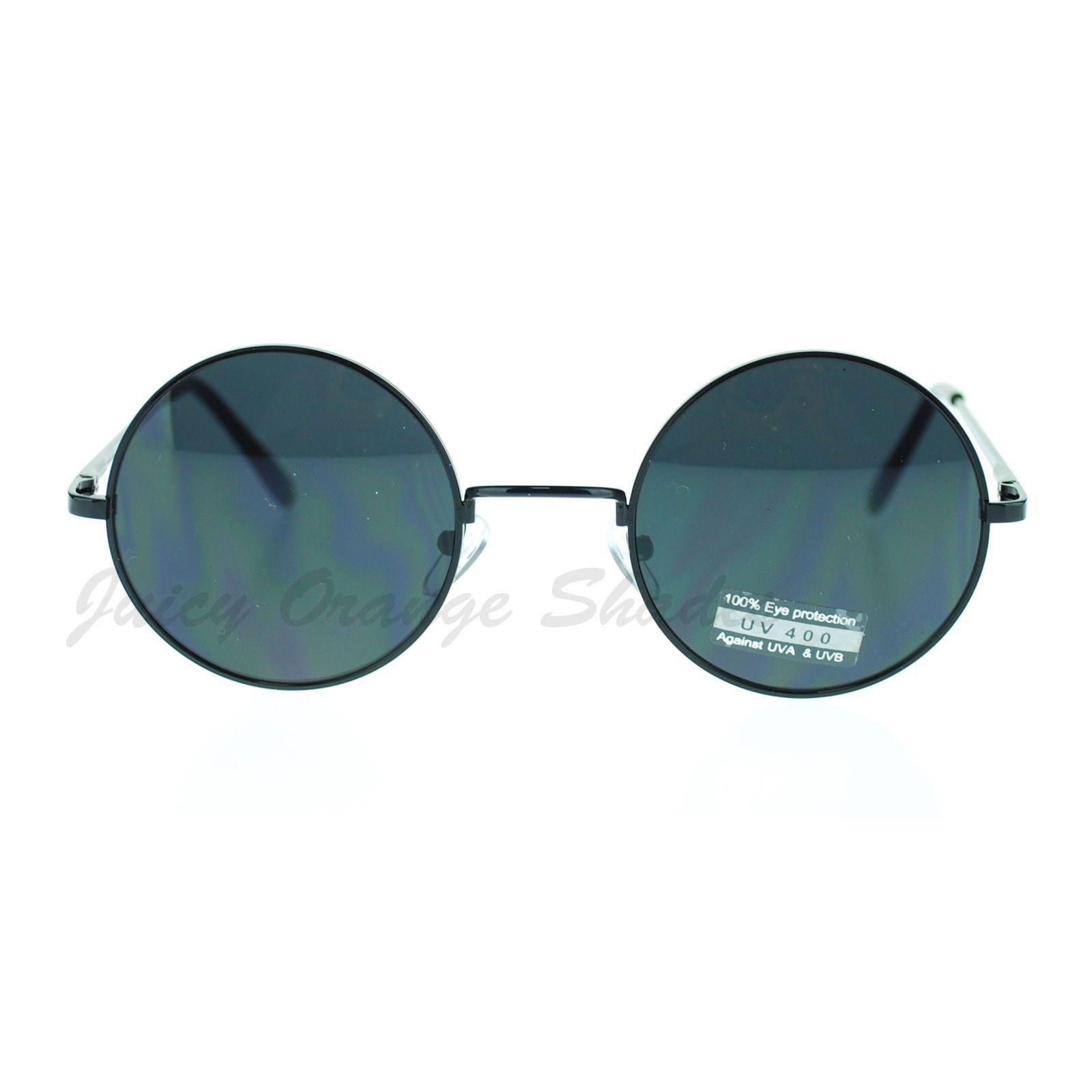 Thin Lite Metal Frame Round Circle Sunglasses Spring Hinge