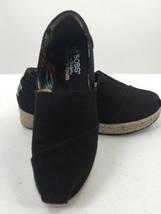 """Skechers Women 8 Slip On Shoes """"Bob"""" Black Espadrille Wedges Memory Foam - $14.01"""