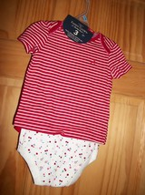 Faded Glory Baby Clothes 3M-6M Newborn Short Outfit Shirt Cherry Bodysui... - $14.24
