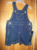 Faded Glory Baby Clothes 3M-6M Newborn Shortall Bottoms Blue Denim Jean Overalls - $5.69