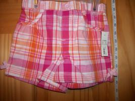 Faded Glory Baby Clothes 3T Toddler Girl Shorts Plaid Pink Orange Pull-up Bottom - $9.49