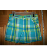 Faded Glory Baby Clothes 3T Toddler Girl Shorts Plaid Blue Green Pull-up... - $9.49