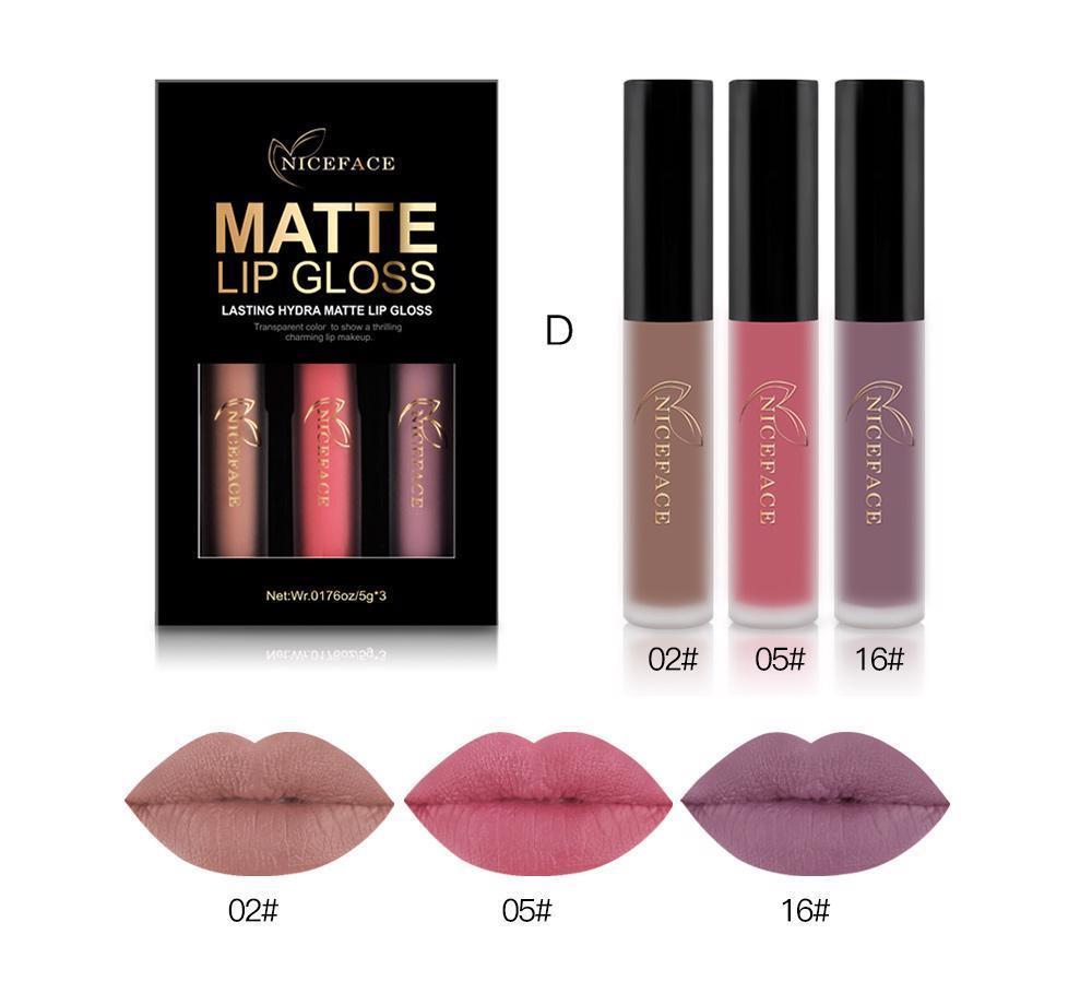 3pcs/SET Waterproof Colors Matte Lipstick Long-lasting Moisturizer Liquid Lips - $8.99