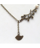 Antiqued Brass Bird Leaf Pearl Necklace Handmad... - $12.99