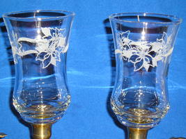 2 Homco Home Interiors 5529DI Poinsettias Etched Embossed PEG Votives . - $16.99
