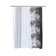 Carnation Home Fashions  Chelsea Fabric Shower Curtain in Black-1301-FSC... - $24.99
