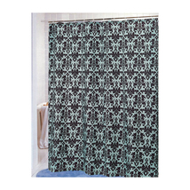 Damask Fabric Shower Curtain in Chocolate/Blue-1301-FSCDAM-13 - $29.59