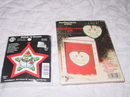 "Two ""Take Along"" size Cross Stitch Kits Christmas Theme Ornaments - $4.99"
