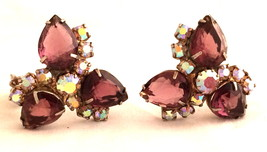 PURPLE Amethyst Simulated Stone Sparkly AB Crystal Cluster Clip on Earri... - $75.00