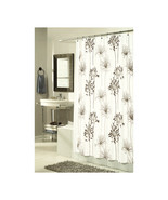 Cologne Fabric Shower Curtain with Poly Taffeta Flocking in Brown/Ivory - $30.81