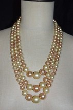 Vintage JAPAN Off White Cream Tan Long Lucite Bead Beaded Choker Necklace - $19.80