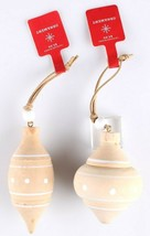 Set of 2 Target Wondershop Toymaker Wooden White Wood Turned Ornaments 2018 NWT