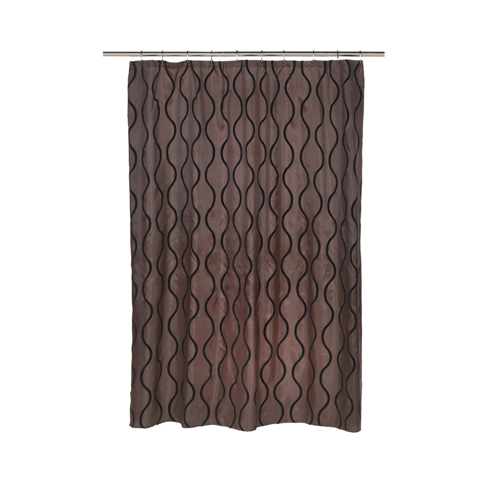 Geneva Fabric Shower Curtain With Poly Taffeta Flocking In Black Brown Shower Curtains