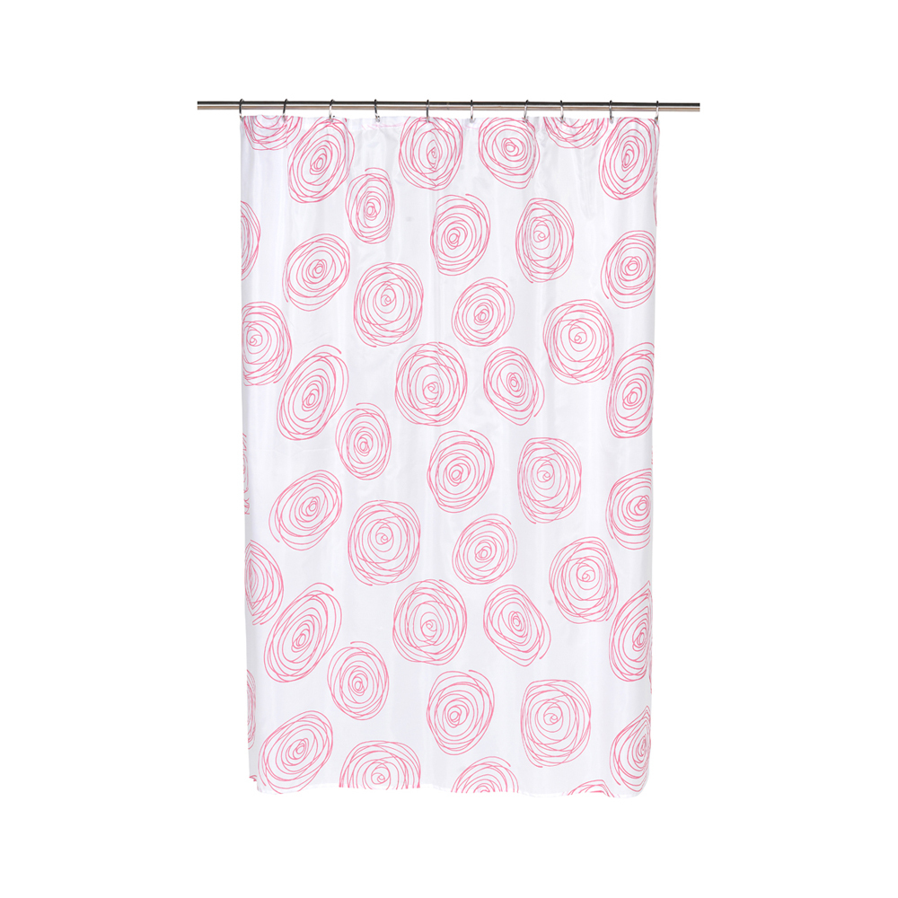 Lucerne Fabric Shower Curtain with Poly Taffeta Flocking in Fuchsia/White