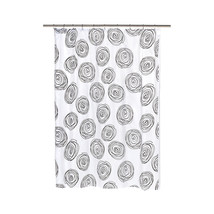 Lucerne Fabric Shower Curtain with Poly Taffeta Flocking in Black/White - $30.81
