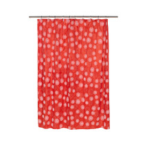 Vienna Fabric Shower Curtain with Poly Taffeta Flocking in White/Red - $30.81
