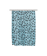 Vienna Fabric Shower Curtain with Poly Taffeta Flocking in Blue/Black - $30.81