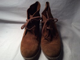 J Crew  Brown Suede Boots Booties Laced Wedge  - $39.59