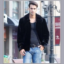 Men's Black Mink Faux Fur Front Zip Up Long Sleeve w/ Hood or Collar Coa... - $198.95