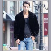 Men's Black Mink Faux Fur Front Zip Up Long Sleeve w/ Hood or Collar Coat Jacket image 1
