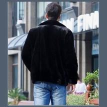 Men's Black Mink Faux Fur Front Zip Up Long Sleeve w/ Hood or Collar Coat Jacket image 2