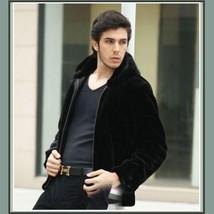 Men's Black Mink Faux Fur Front Zip Up Long Sleeve w/ Hood or Collar Coat Jacket image 3