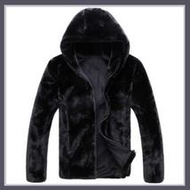 Men's Black Mink Faux Fur Front Zip Up Long Sleeve w/ Hood or Collar Coat Jacket image 4