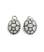 Cubic Zirconia and Black Enameled Turtle Shell EARRINGS in STERLING Silver  - $48.00