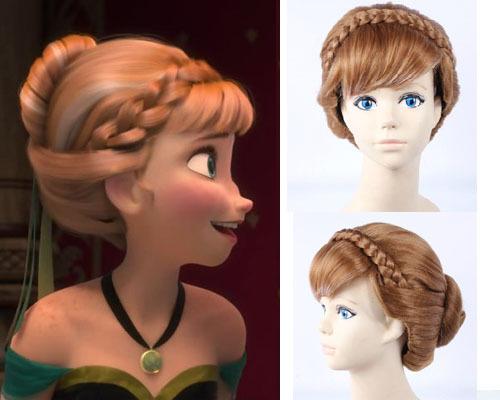 Disney frozen princess anna cosplay coronation brown braided bundle