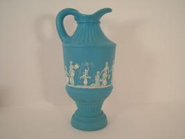 AVON Bottle AVONSHIRE DECANTER Turquoise Aqua Pitcher Roman People GREEK - $19.00