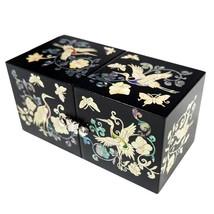 mother of pearl trinket jewelry box jewel case organizer black crane & p... - €51,49 EUR