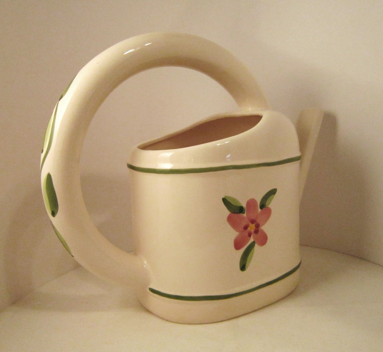 Watering Can and Flower Pots Ceramic 4 piece Set Hand Painted Planters